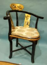 A lacquered and painted corner chair decorated with cranes.