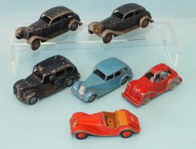 Dinky Toys: 151 Triumph 1800, 40H Austin Taxi, 108 MG Midget, two 30B Rolls Royces, (a/f) and a