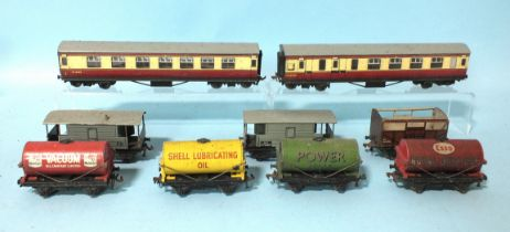 Hornby Dublo, two corridor coaches, seven various wagons, (no boxes, roof missing), track, etc.