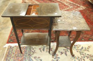 An inlaid mahogany work table, the sliding top with fitted interior, 52cm wide, 74cm high and a