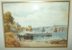 David Skinner, 'Coastal inlet with boats and a church in the background', signed watercolour,