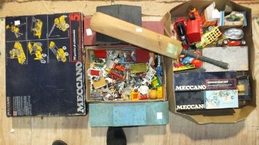 Meccano, Set 5, boxed, (not checked), other Meccano, a quantity of plastic farm animals and other