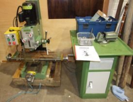 A Warco GH18 milling machine on single pillar stand.
