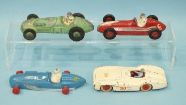 Dinky, four unboxed diecast racing cars: 230 Talbot Lago, (no tyres), 231 Maserati, 235 HWM and