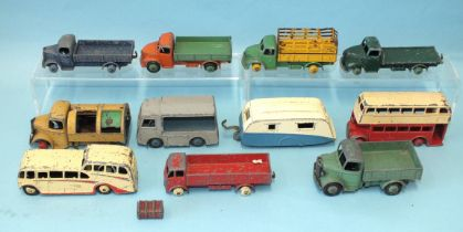 Dinky Toys: 29F Observation Coach, 29C Leyland Bus, 25V Refuse Wagon, 30V Electric Van and other