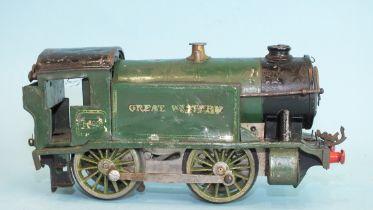 Hornby O gauge, c/w No.1 Special GWR 0-4-0 tank locomotive RN5500, (a/f, worn, screw replaced).