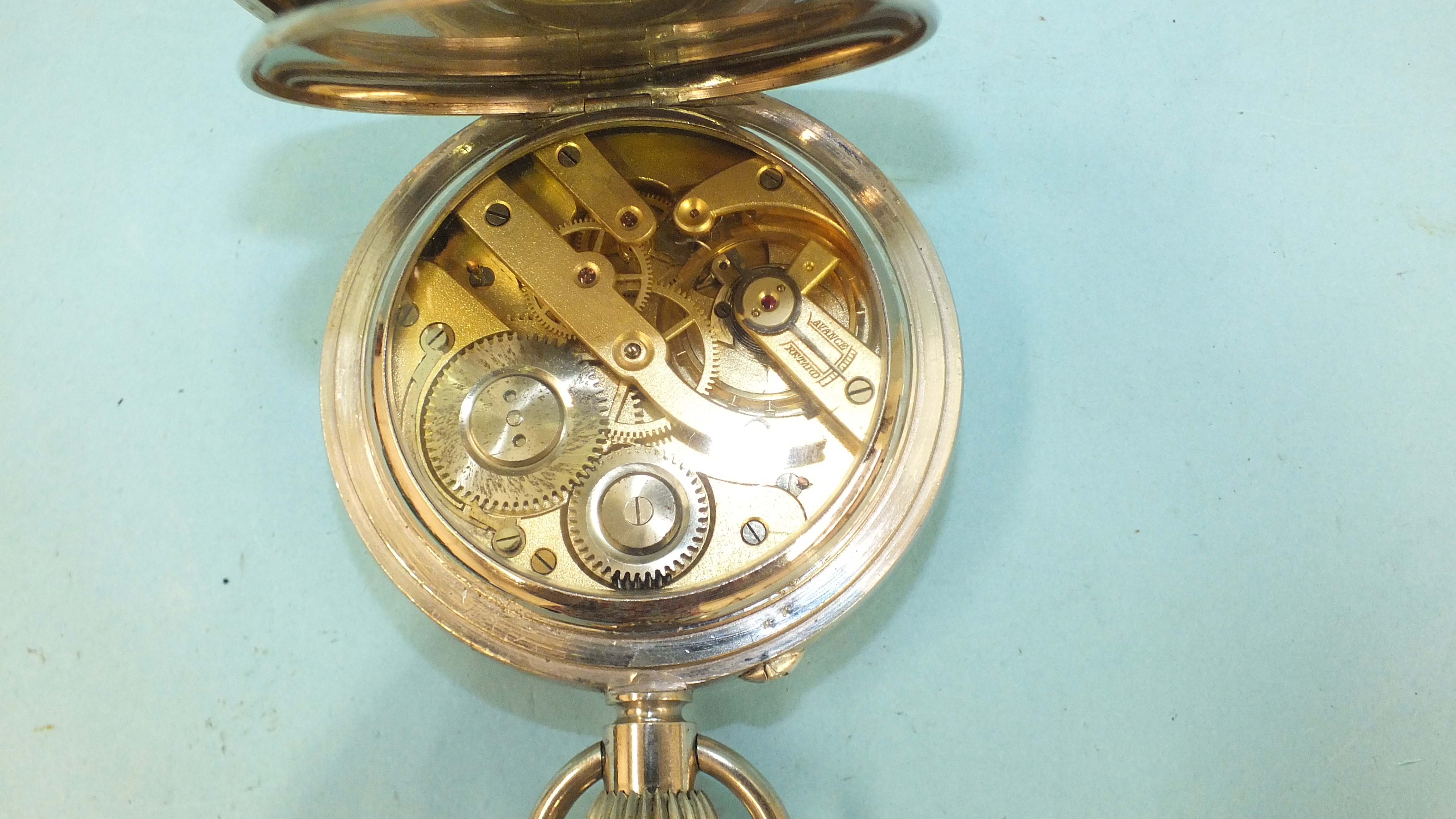 A silver embossed pocket watch holder of triangular form, Birmingham 1898, 11.5 x 11.5cm, (holes - Image 5 of 15