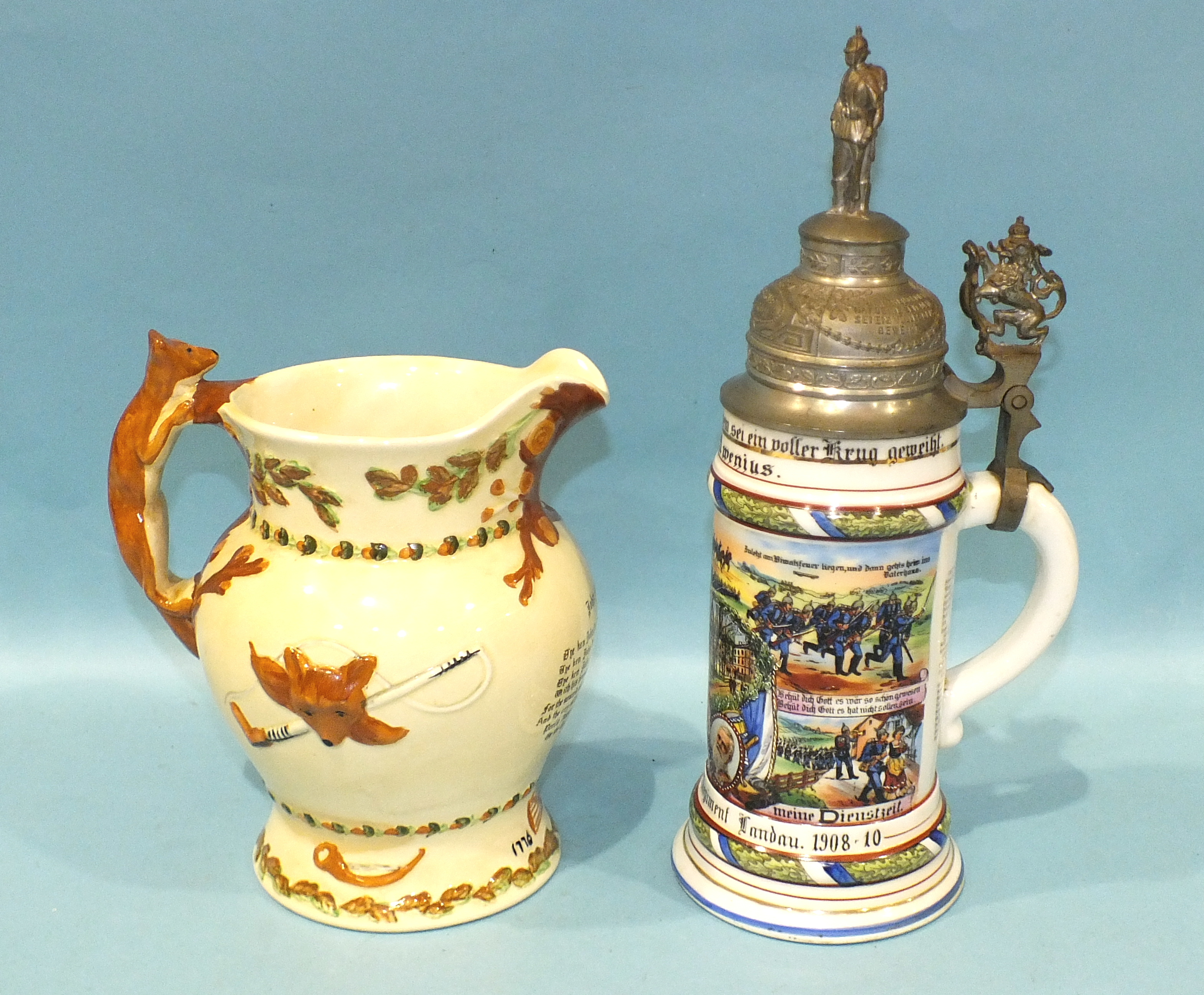 A Crown Devon Fielding 'John Peel' musical jug, 21cm high, (some staining) and a modern German - Image 4 of 4