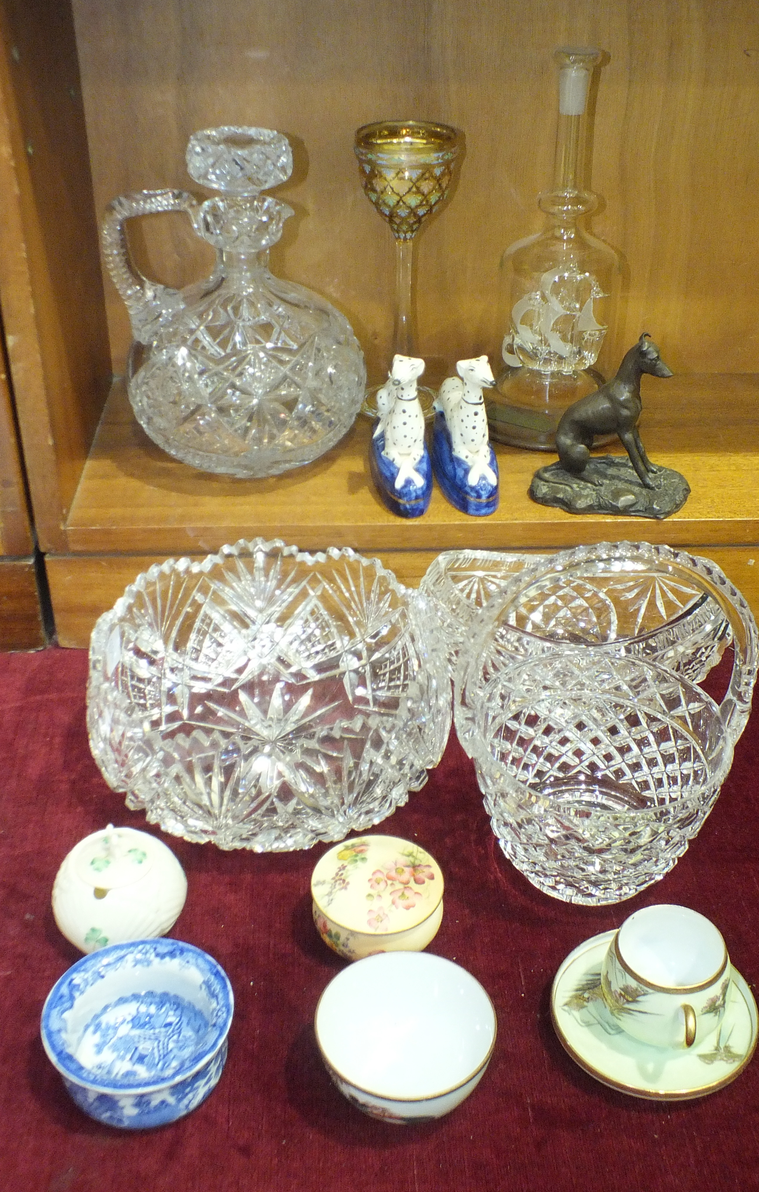 A Royal Worcester foliate-decorated blush pot and cover, a heavy cut-glass decanter, bowl, other