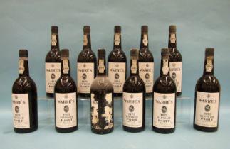 Warres vintage Port 1975, eleven bottles, in cardboard case, (some labels damaged), (11).