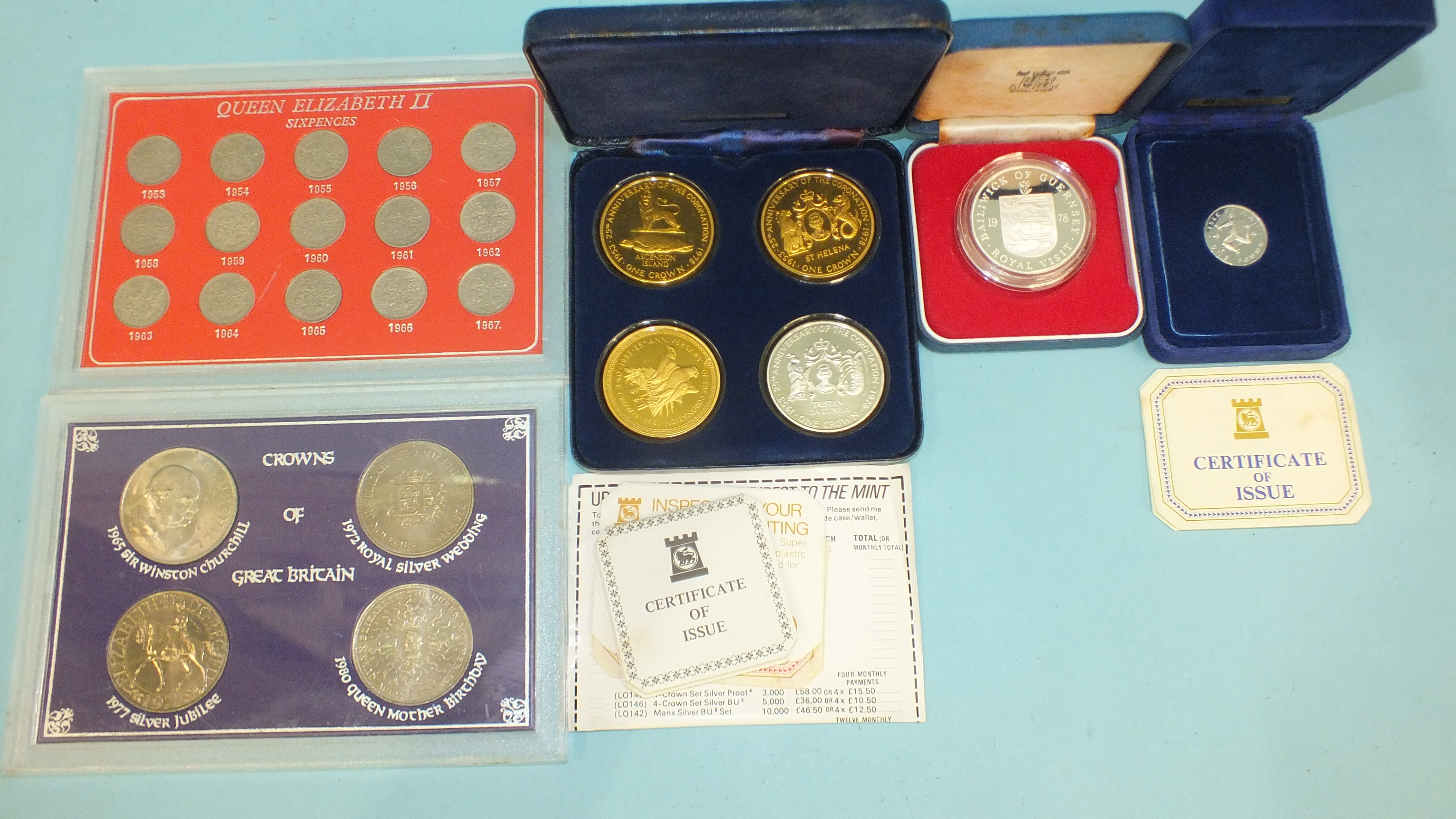 A Pobjoy Mint sterling silver three-coin 'South Atlantic Group' set, together with an Isle of Man