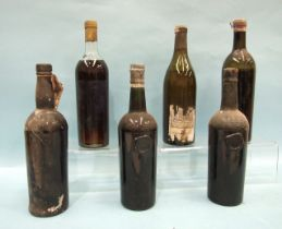 Berry Bros & Co, Chablis Sorelles 1934, (label damaged, mid-shoulder) and six other unlabelled