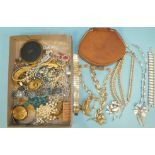 A silver brooch set cultured pearls, two Trifari bracelet and necklace sets, (one missing diamanté