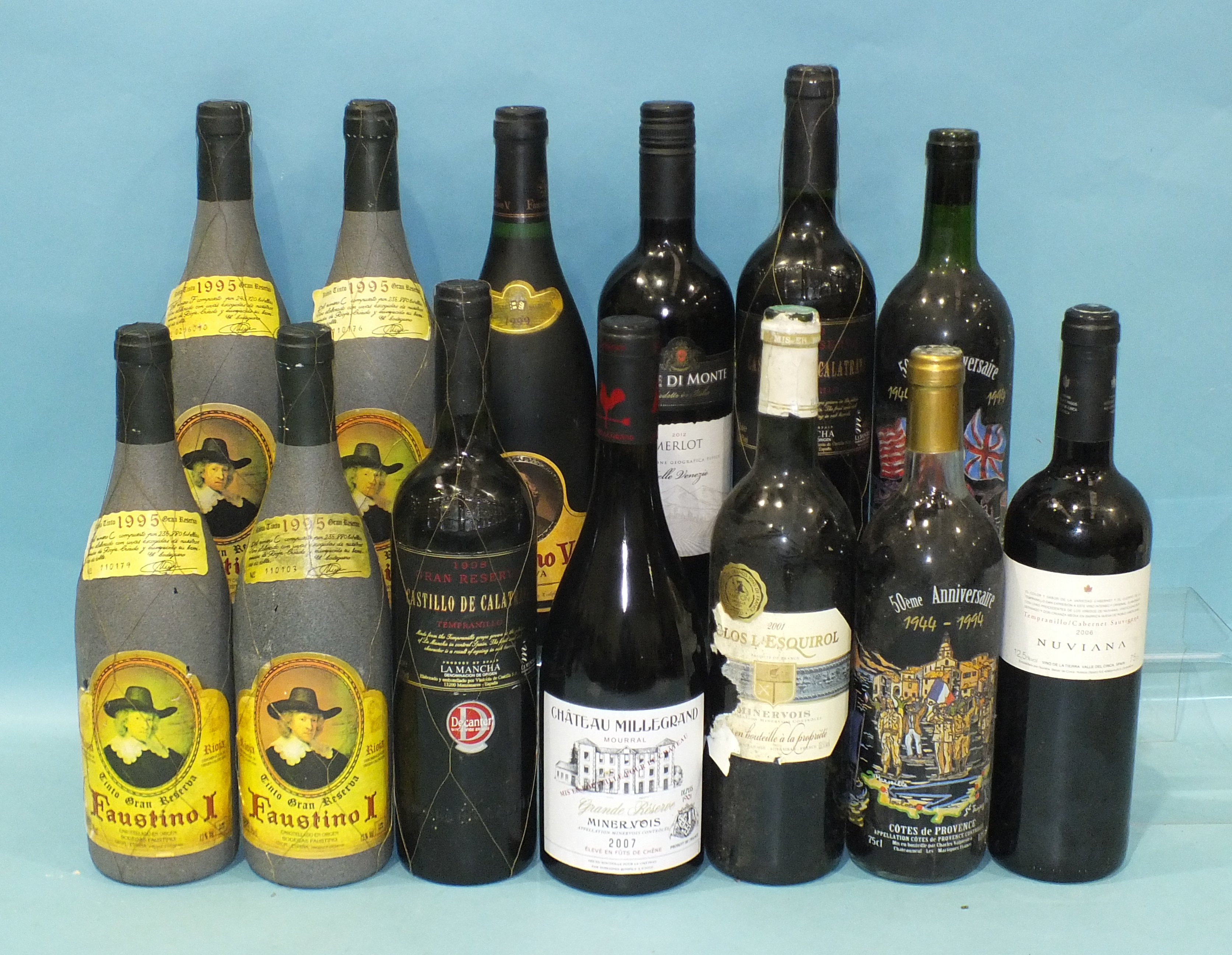 Faustino Rioja Tinto 1995 Grand Reserva, four bottles, Castillo De Calatrava Gran Reserva