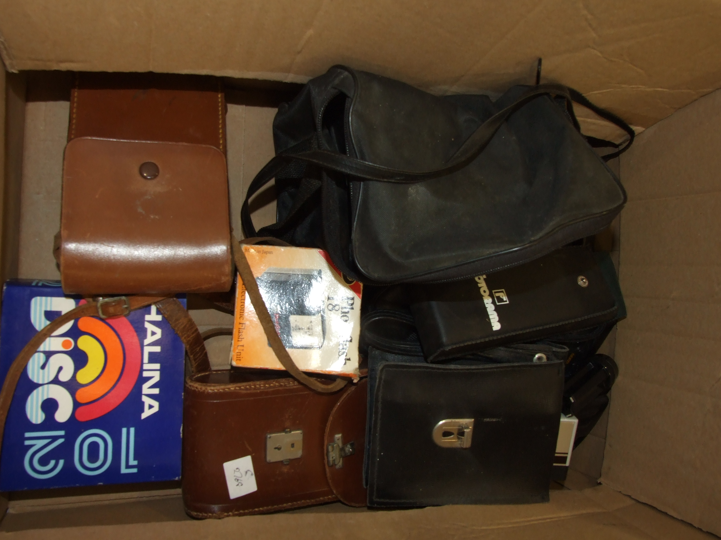 A Zenit-E 35mm camera in case, a Halina camera, other cameras, a pair of Milo 7 x 18 field glasses - Image 2 of 3