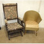 An American stained wood rocking chair and a Lloyd Loom Lusty Ware chair with sprung seat, (2).