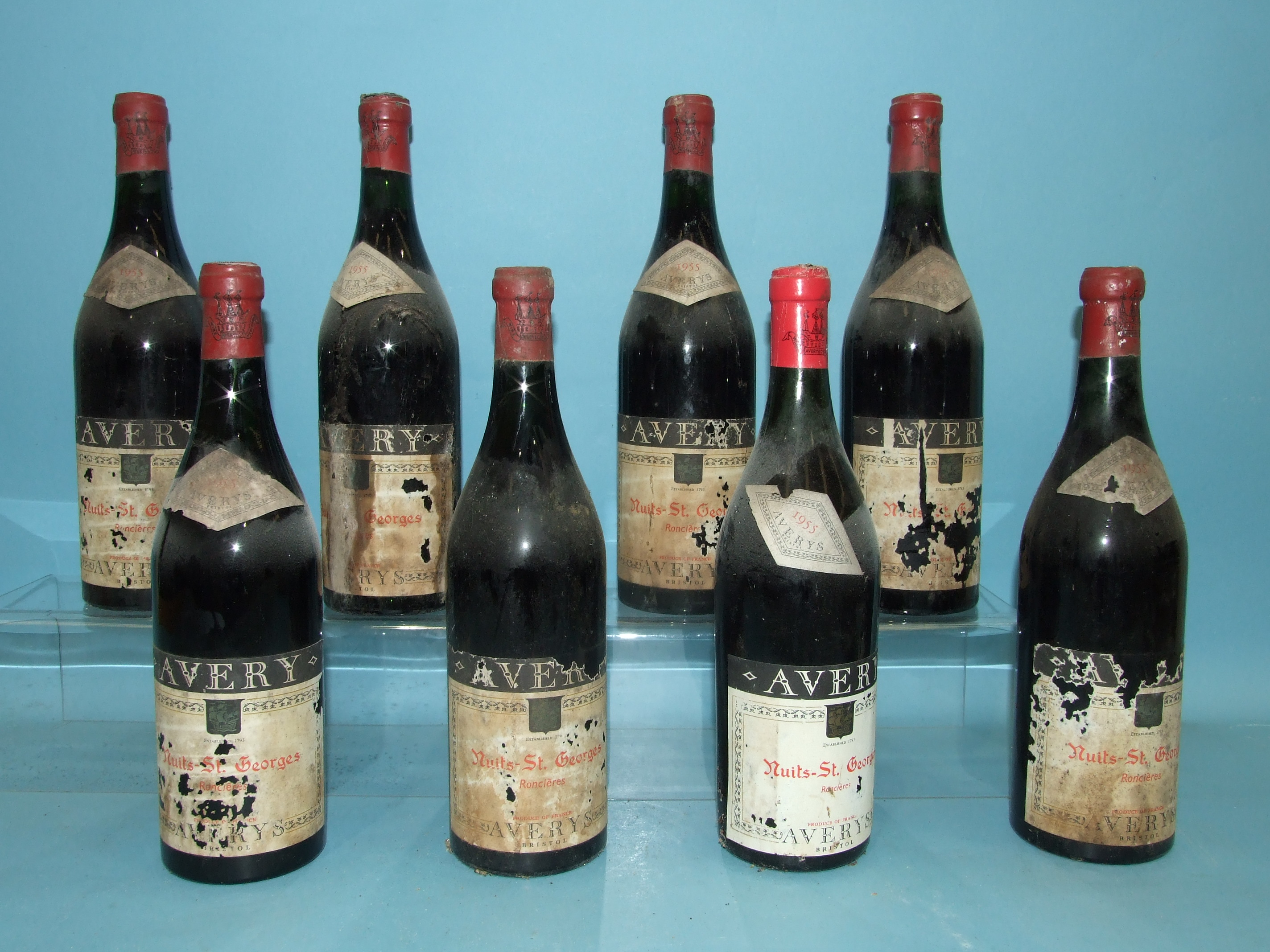 Nuits St Georges Ronclères 1955, Averys of Bristol, eight bottles, (labels and two capsules