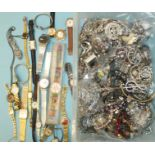 A quantity of watches, including two Swatches, and costume jewellery.