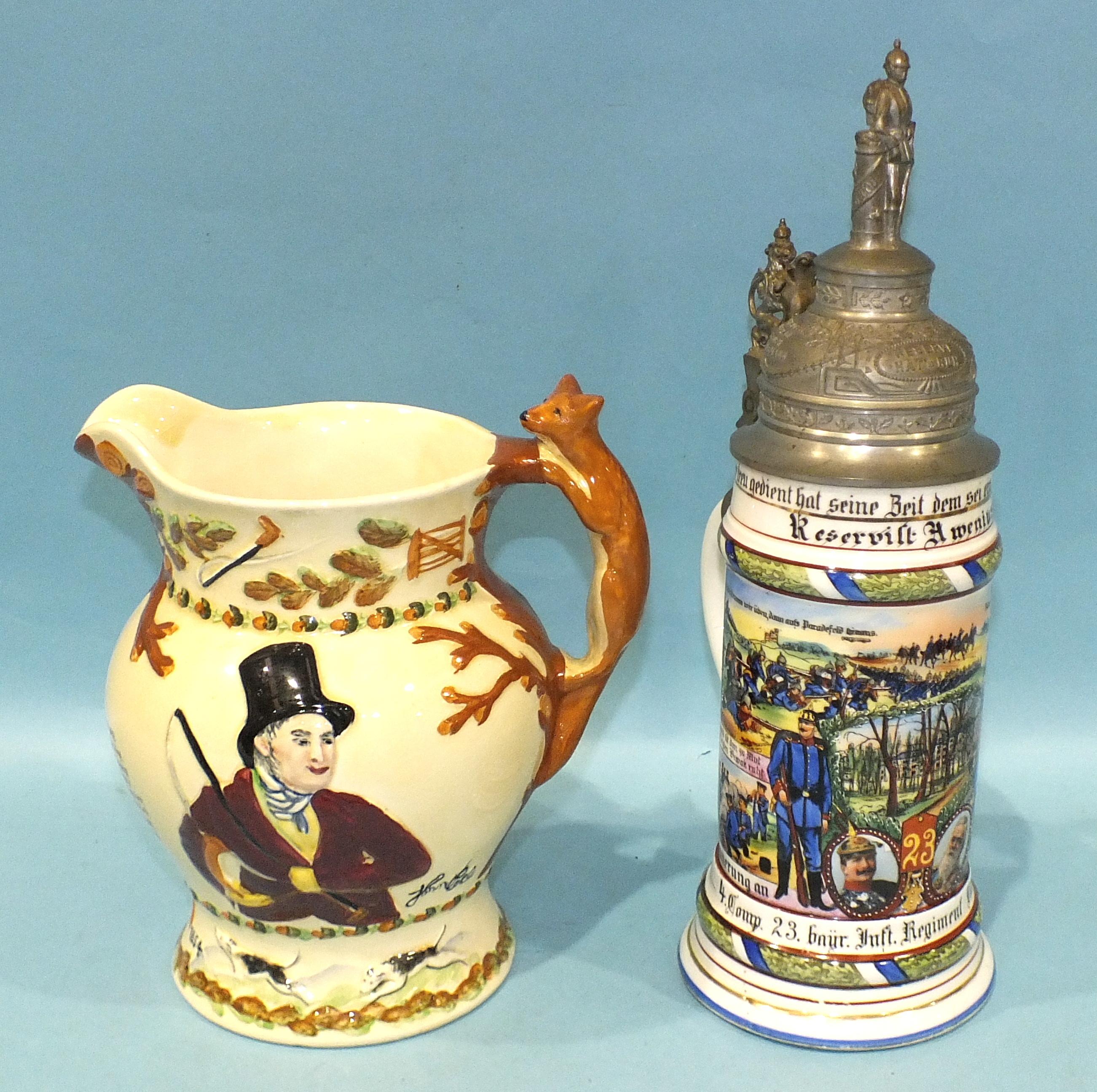A Crown Devon Fielding 'John Peel' musical jug, 21cm high, (some staining) and a modern German