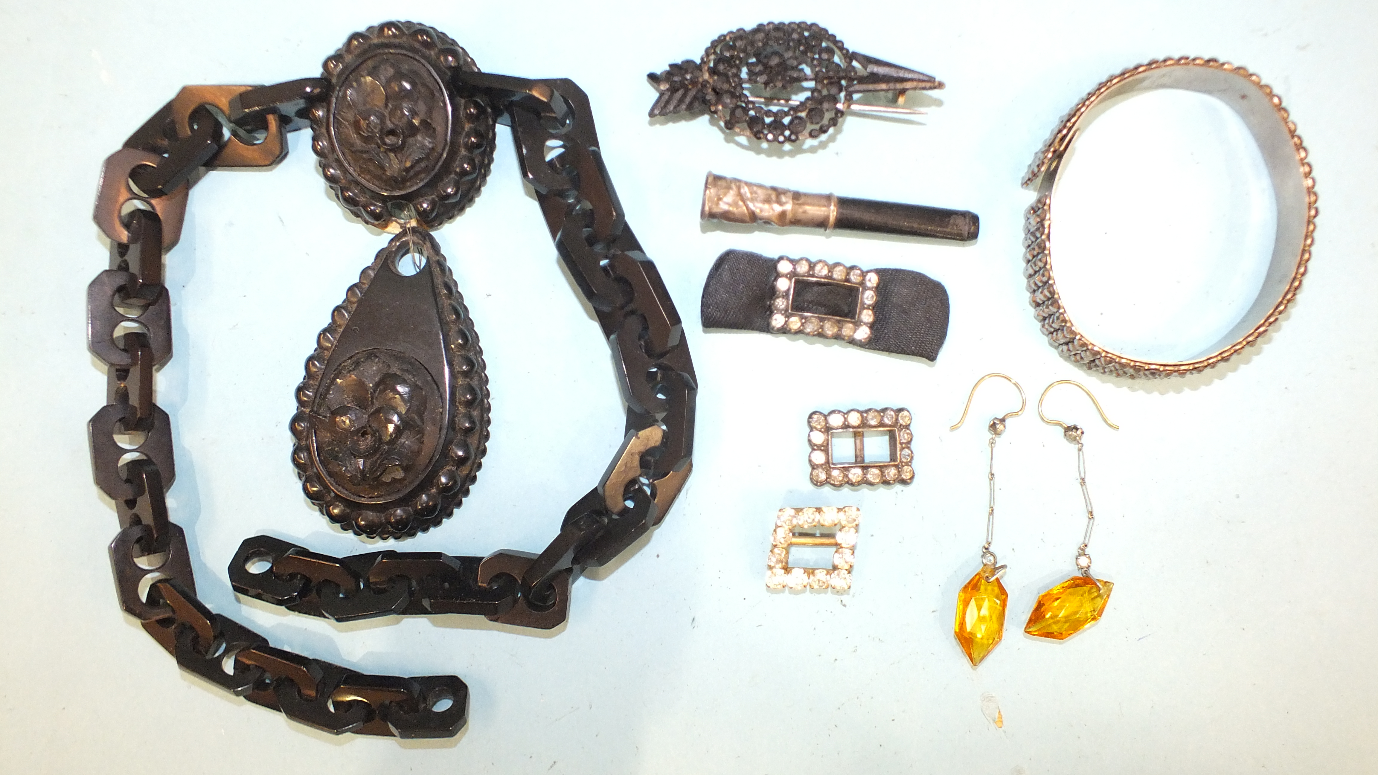 A Victorian jet necklace, (a/f), a 19th century cut-steel bangle, a pair of paste drop earrings, a - Image 2 of 3