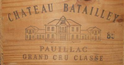 Chateau Batailley Pauillac Grand Cru Classé 1985, twelve bottles, in original wooden crate, (12).
