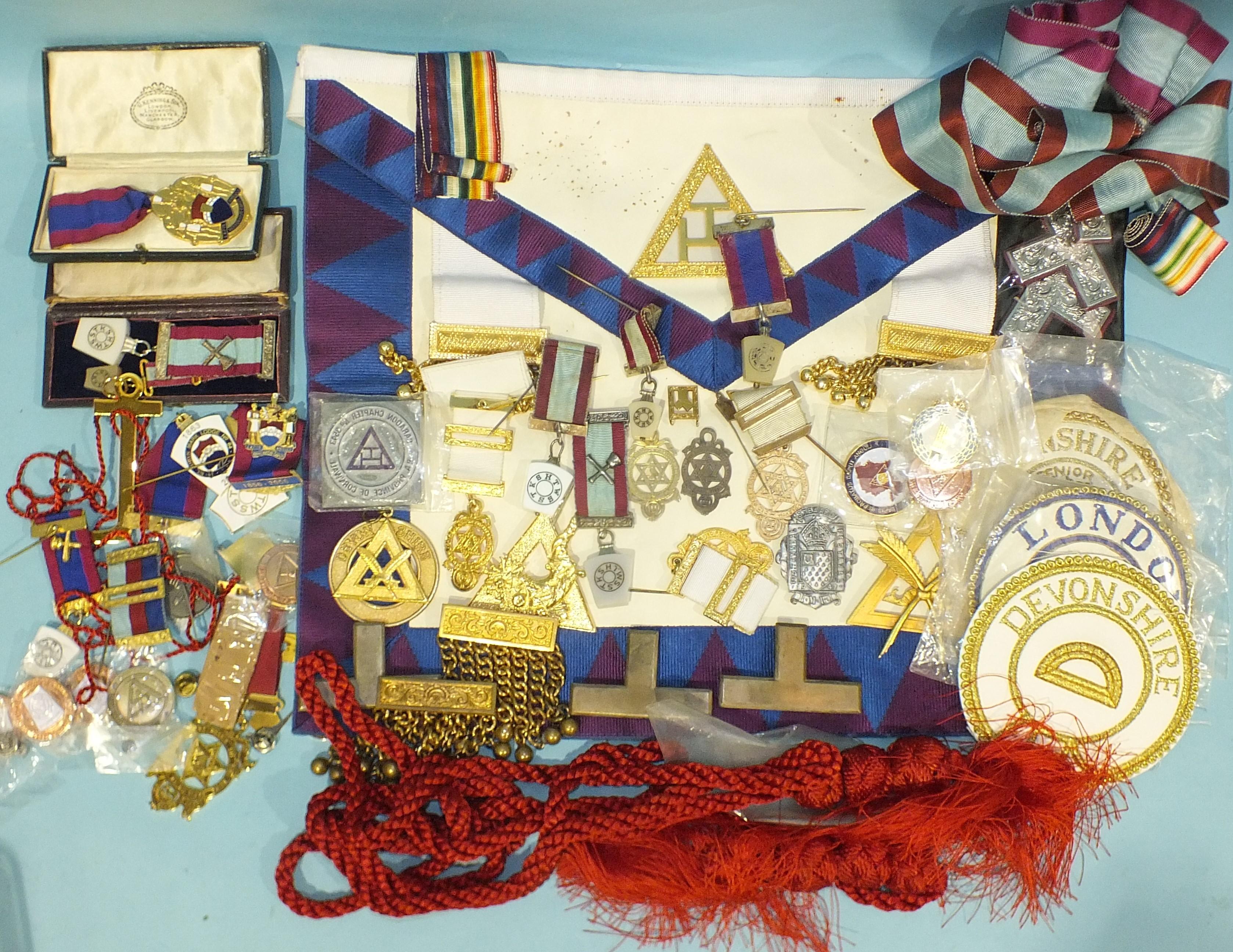 Masonic interest: two small silver-gilt HRA Chapter jewels, two silver-mounted Mark Master Masons