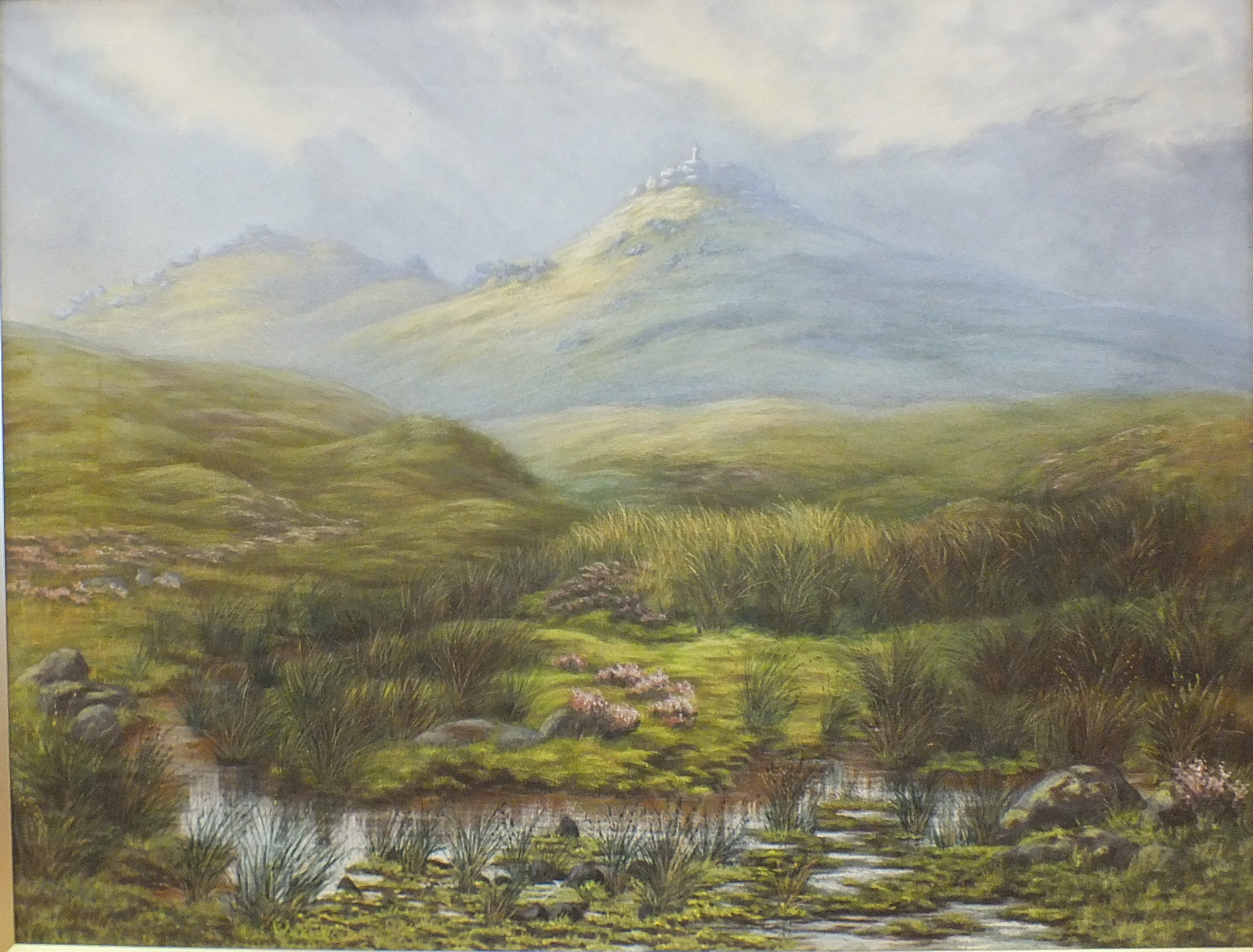 A K Meadows (19th/20th century), 'Looking towards Widgery Cross, Dartmoor', pastel, signed, 60 x - Image 3 of 4