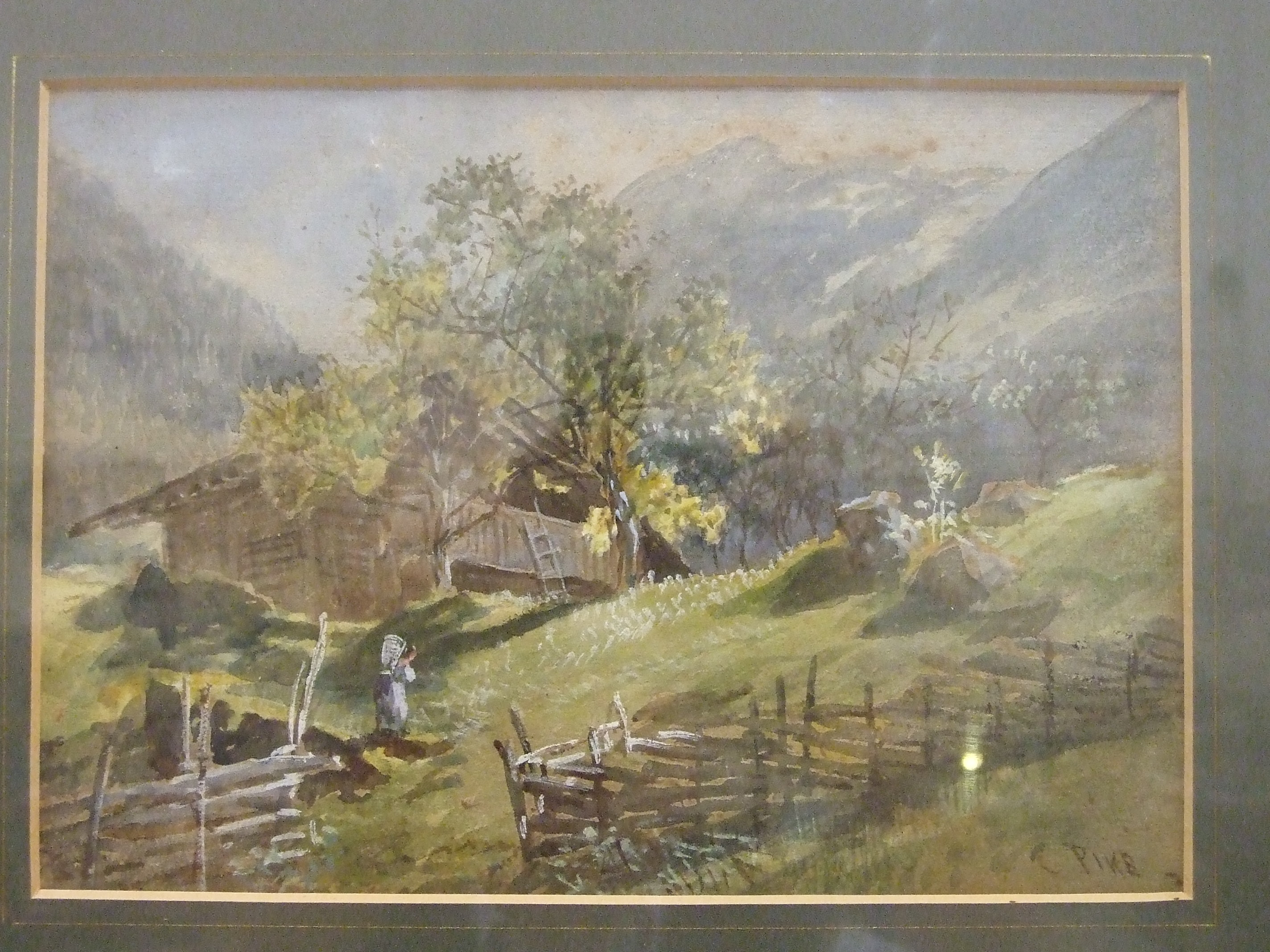 P H Rogers, 'Lakeside Cottage with figure fishing', watercolour, signed and dated1852, 18 x 26cm, ( - Image 2 of 4