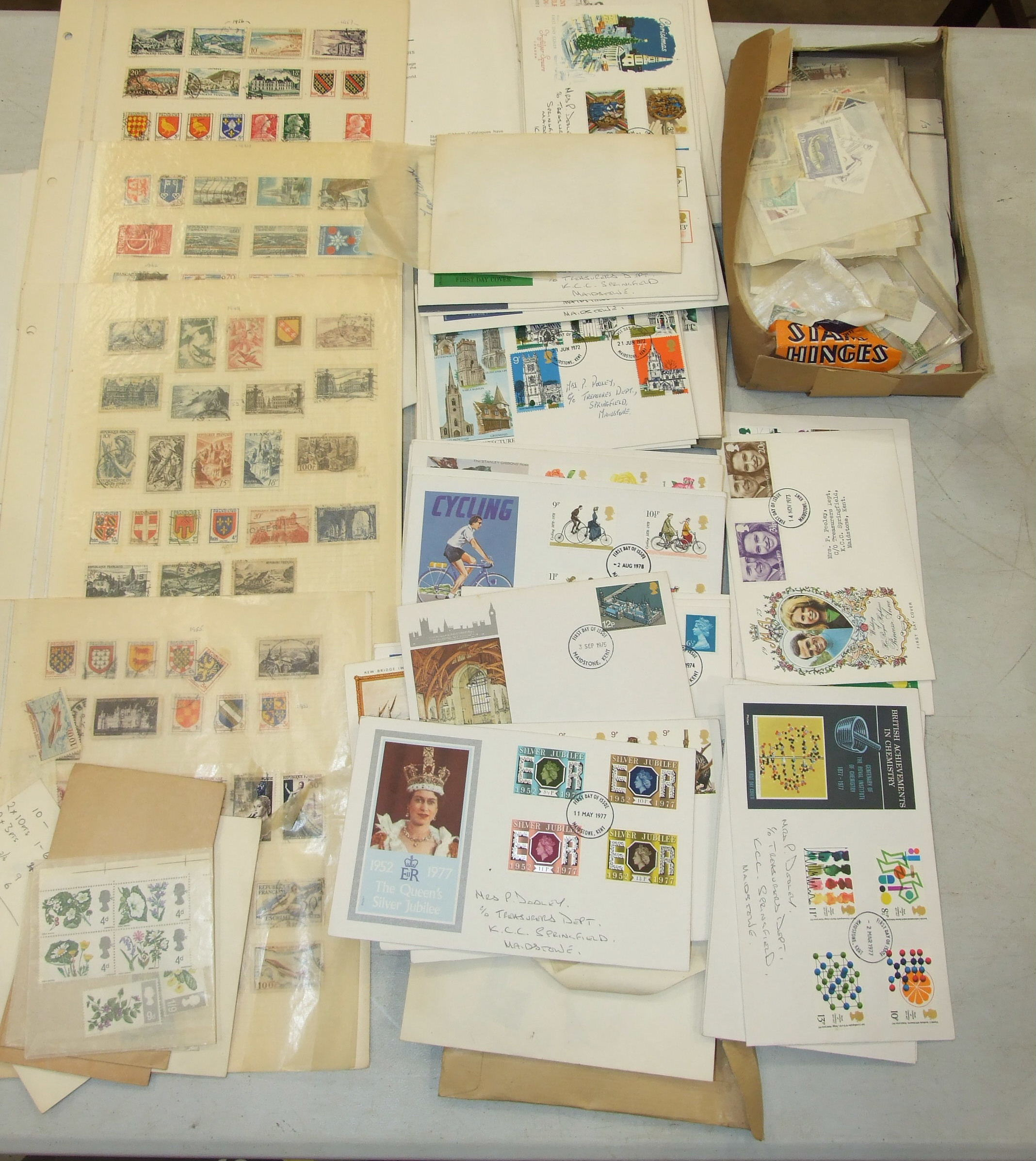 A small collection of British and World postage stamps, (loose), first day covers, etc.
