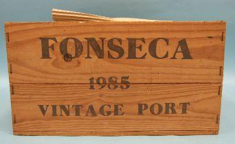 Fonseca Guimaraens vintage Port 1985, twelve bottles, in original wooden crate, (lid lacking), (12).