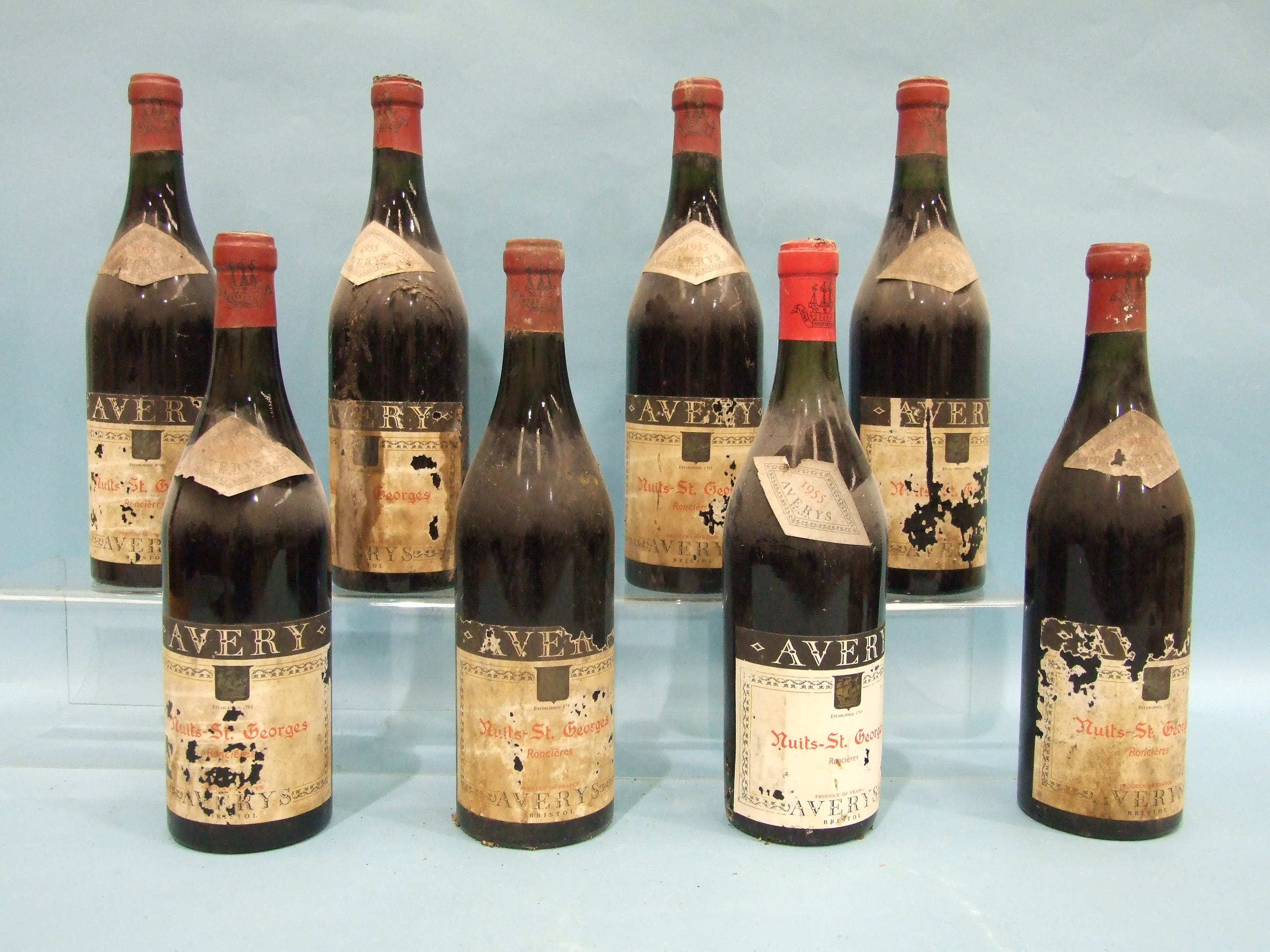 Nuits St Georges Ronclères 1955, Averys of Bristol, eight bottles, (labels and two capsules - Image 2 of 3