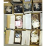 """A collection of eight boxed limited-edition Gallery Teddy Bears, four from """"Victorian Treasures"""", '"""
