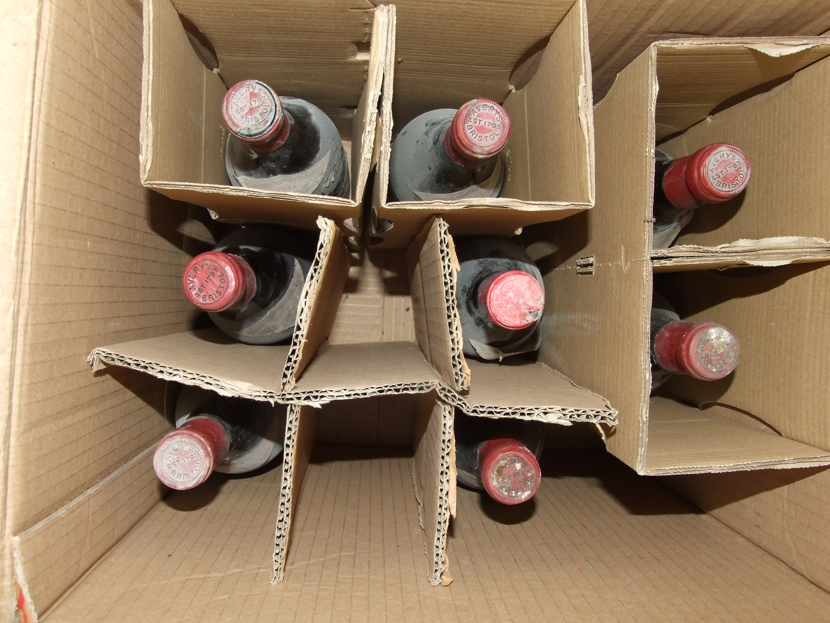Nuits St Georges Ronclères 1955, Averys of Bristol, eight bottles, (labels and two capsules - Image 3 of 3