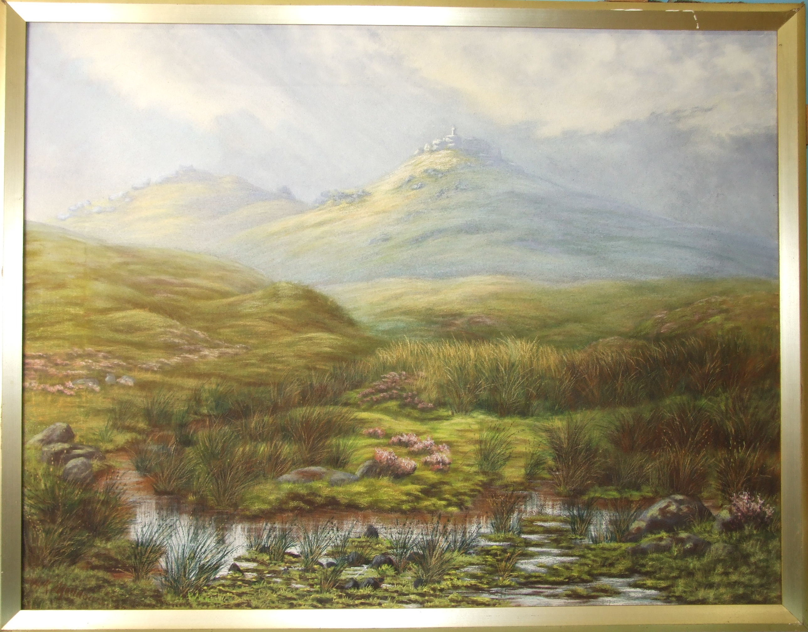 A K Meadows (19th/20th century), 'Looking towards Widgery Cross, Dartmoor', pastel, signed, 60 x