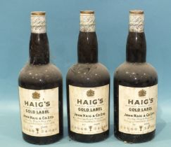 Haigs Gold Label Blended Whisky, three bottles, 70% proof, all with foil spring cap top, (3).