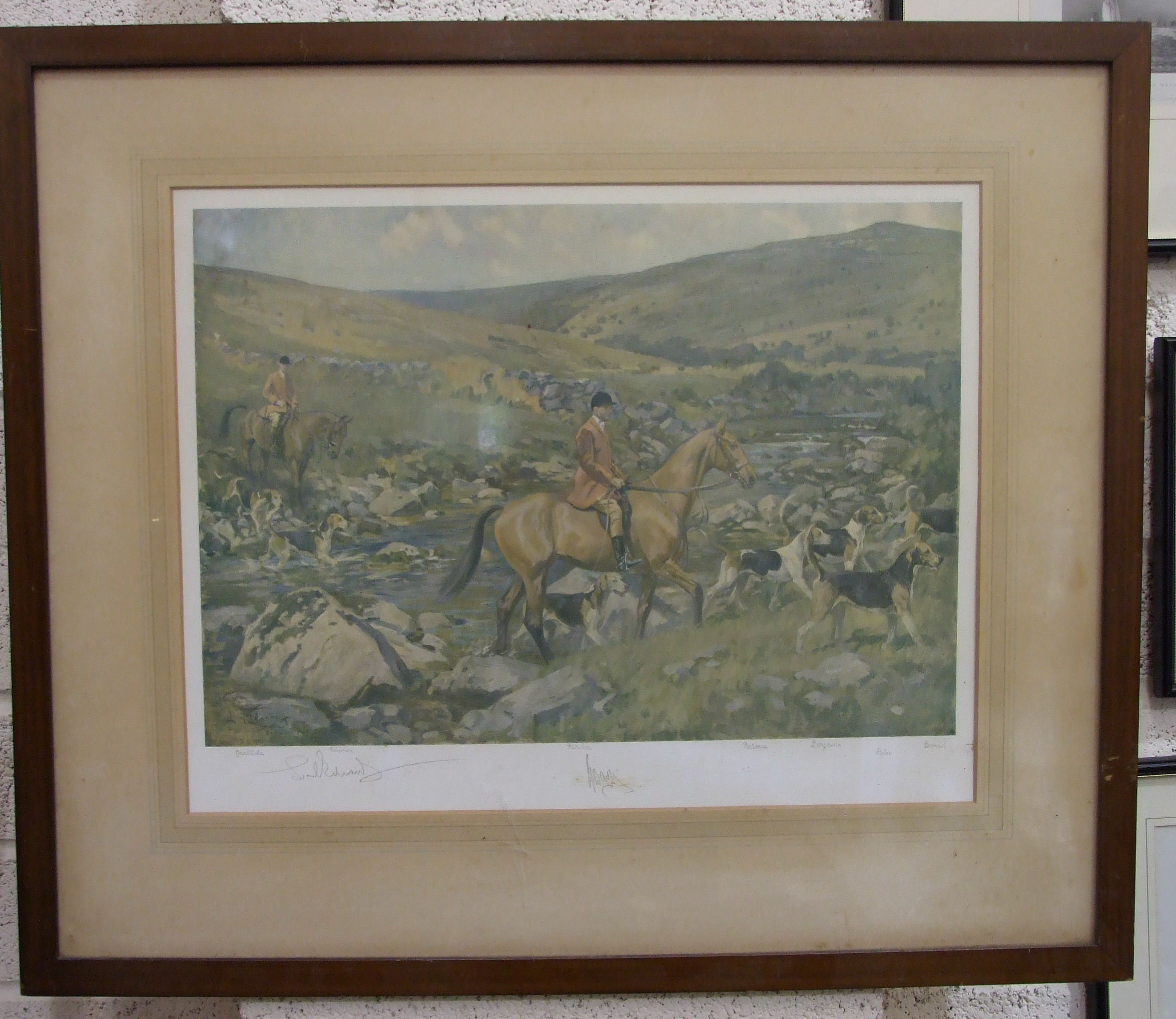 After Lionel Edwards, coloured lithographic print 'Dartmoor Hunt', signed in pencil, huntsman and - Image 2 of 5