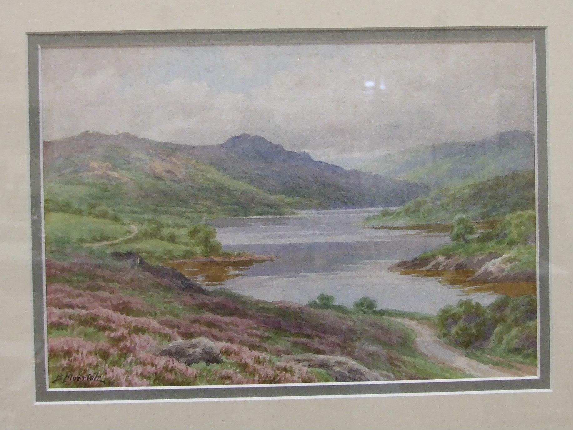 B Morrish, 'Mist Tor and Burrator Lake', signed watercolour, 18 x 27cm and Sue Mercer 'Sheepstor