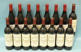 Chateau Rousset Caillau Bordeaux 2007, nine bottles and Côtes du Rhône Villages Le Prieure 2007,