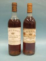 Rieussec Sauternes Chateau 1st Grand Cru Classé 1988, 1975, one bottle, (high-shoulder), 1983, one