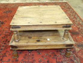 Two Eastern metal-bound hardwood low coffee tables, each on turned legs, 64 x 63cm and 57 x 56cm, (