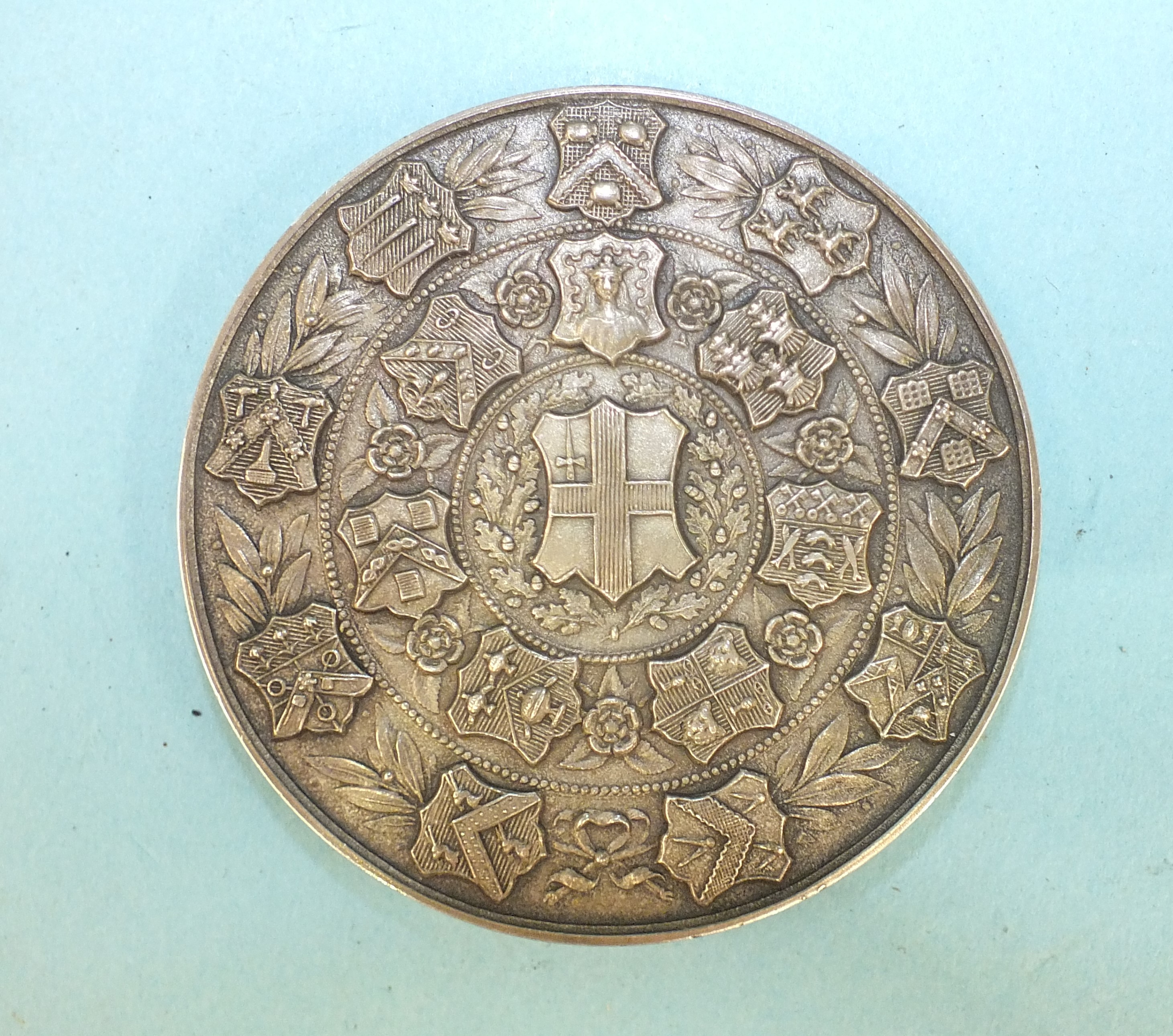 A WWI bronze death plaque awarded to Charles Simmons, a 1951 Technological Examination medallion and - Image 2 of 3