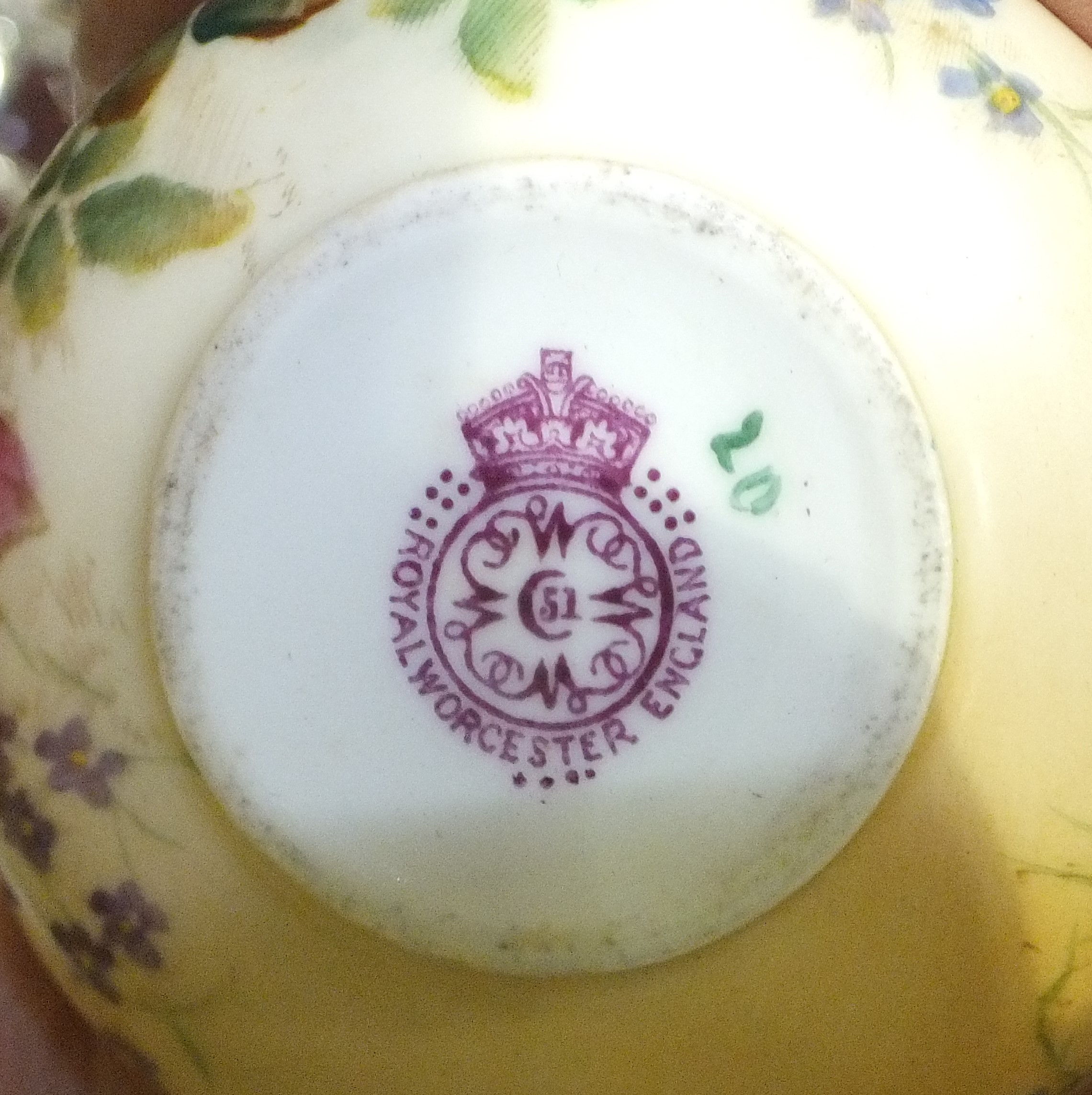 A Royal Worcester foliate-decorated blush pot and cover, a heavy cut-glass decanter, bowl, other - Image 2 of 6