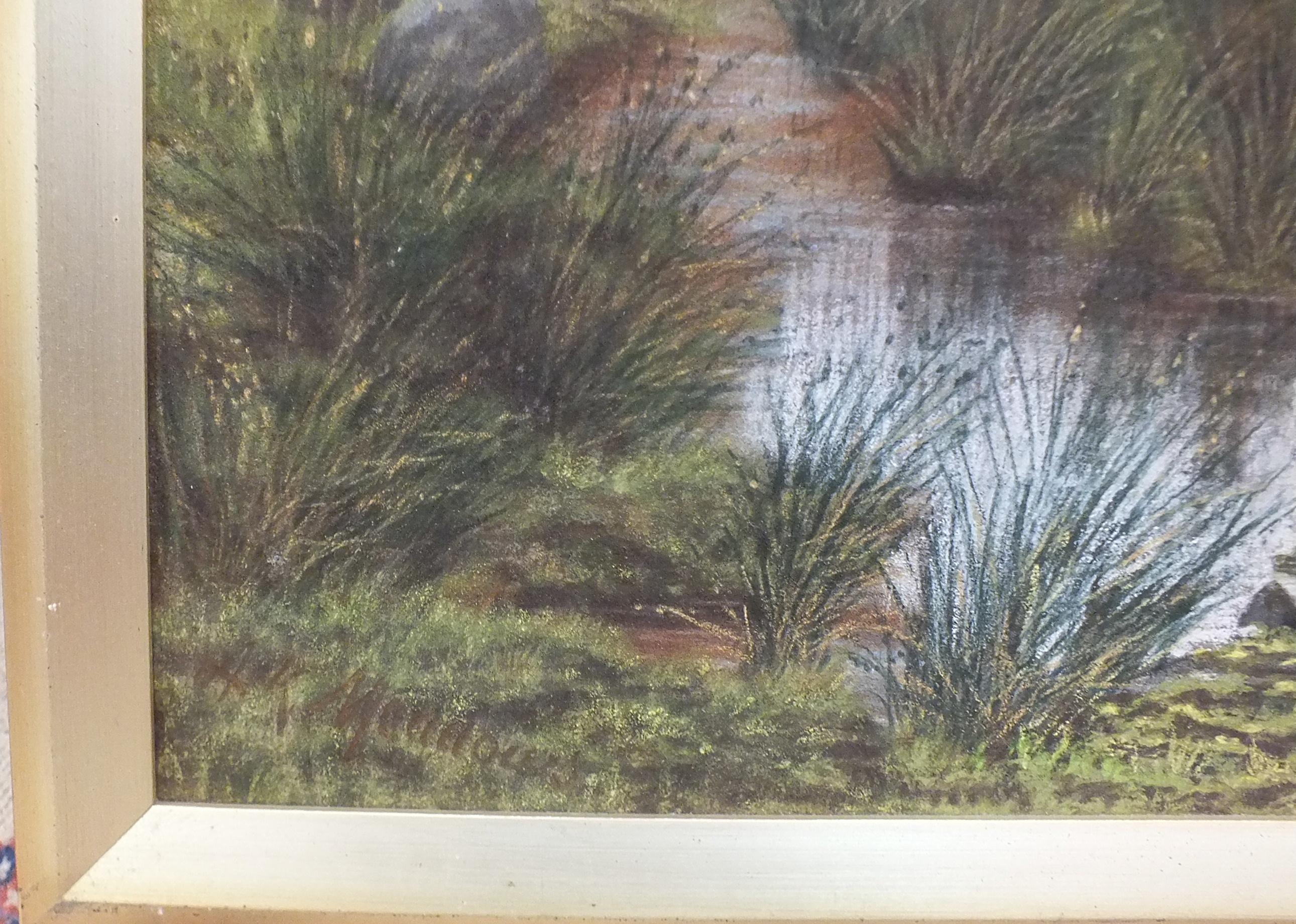 A K Meadows (19th/20th century), 'Looking towards Widgery Cross, Dartmoor', pastel, signed, 60 x - Image 4 of 4