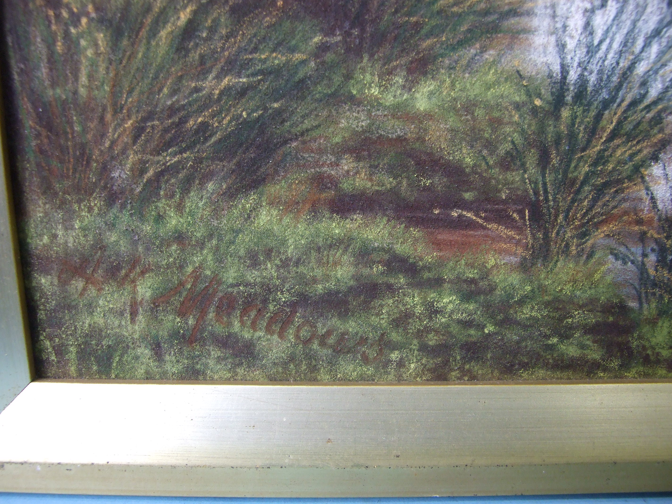 A K Meadows (19th/20th century), 'Looking towards Widgery Cross, Dartmoor', pastel, signed, 60 x - Image 2 of 4