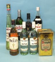 Bells Original, 1L, Bacardi Superior, (70cl), two bottles, Highland Park 12-year Single Malt Whisky,