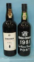 Sandeman vintage Port 1980, one bottle and Royal Oporto 1981 LBV, one bottle, (2).