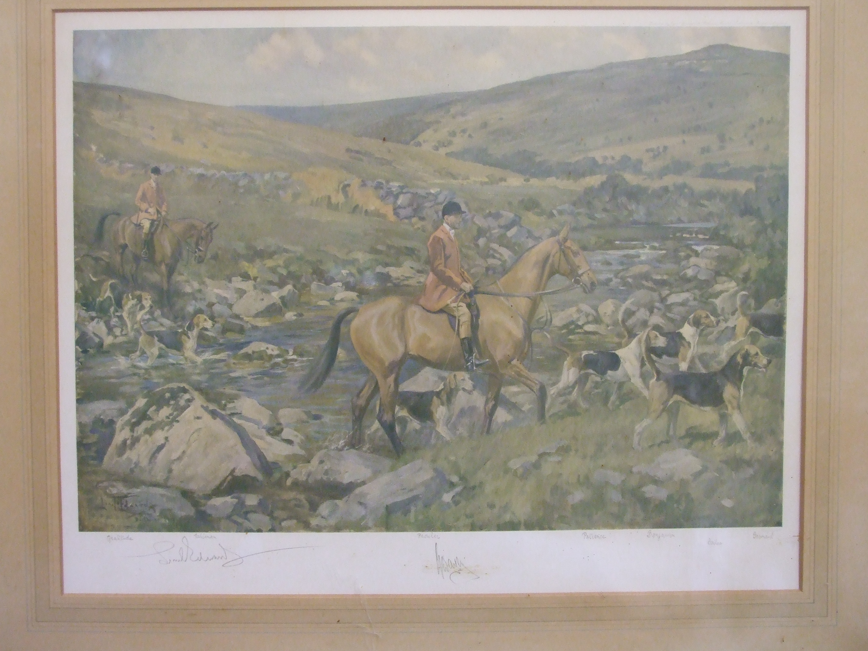 After Lionel Edwards, coloured lithographic print 'Dartmoor Hunt', signed in pencil, huntsman and