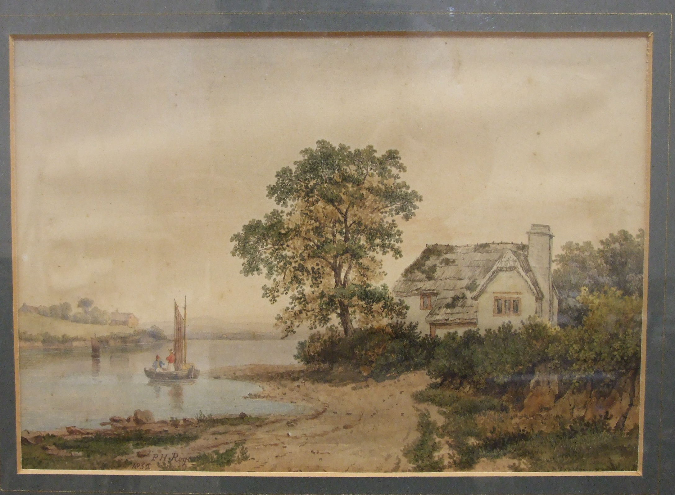 P H Rogers, 'Lakeside Cottage with figure fishing', watercolour, signed and dated1852, 18 x 26cm, (