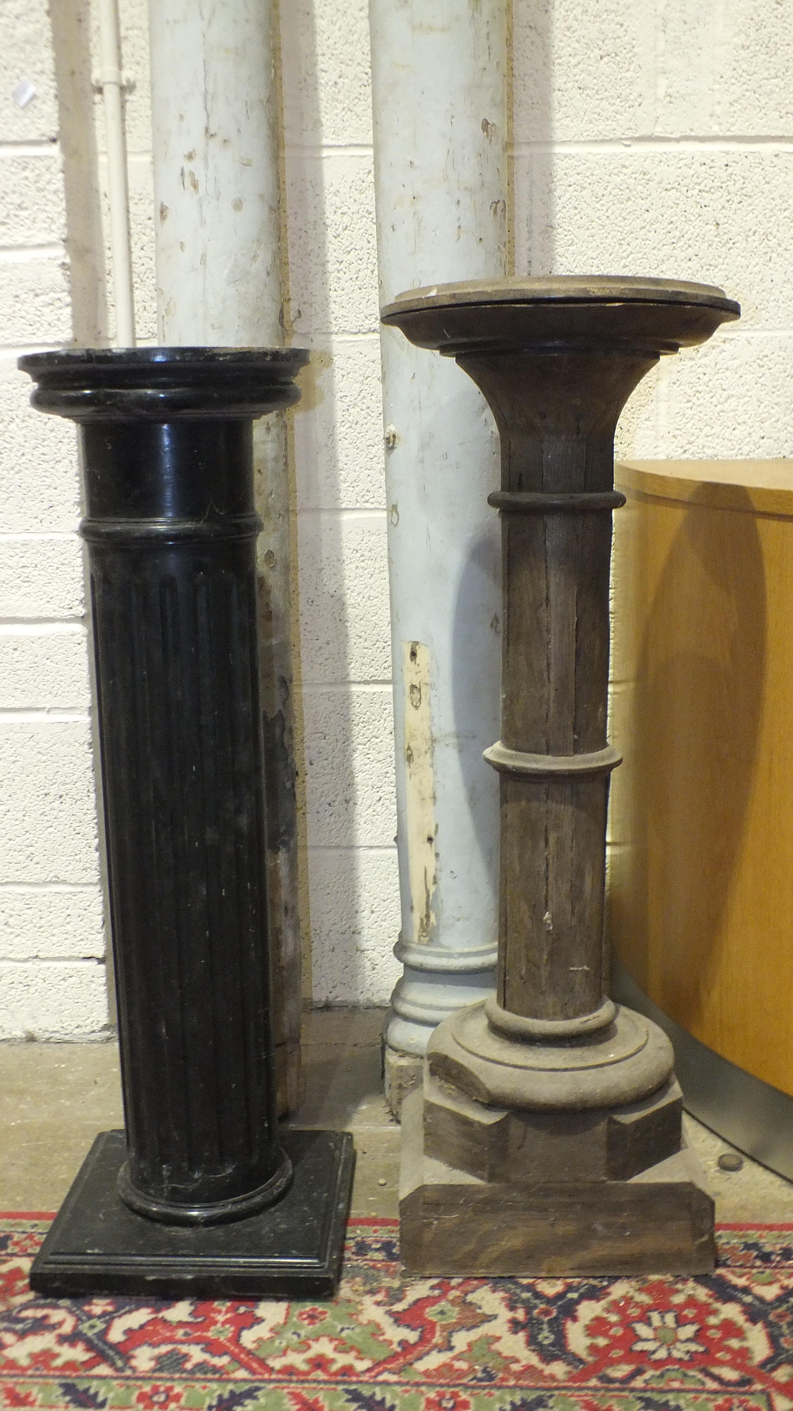A pair of painted wood pillars, 204cm and 194cm high and two wood pedestals, 90cm and 95cm high. - Image 3 of 3