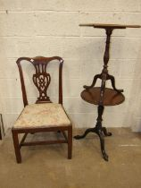 A late-19th century mahogany circular-top occasional table, on turned column and tripod support,